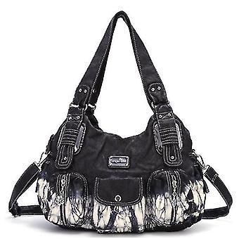 Kvinnor Handväskor Axelväskor Tvättade Läder Satchel Tote Bag Mutipocket Handväska (Svart)