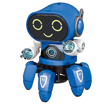 DIY الكهربائية الخفيفة الموسيقى الرقص ستة الفك الروبوت الذكي (الأزرق)