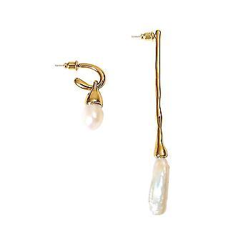 Ohrringe Golden Barock Süßwasser Perle Legierung Ohrtropfen für Festival