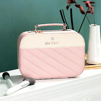 Cosmetic Bag Large Capacity PU Leather Striped Travel Eyebrow Storage Cosmetic Case Cosmetic Bags