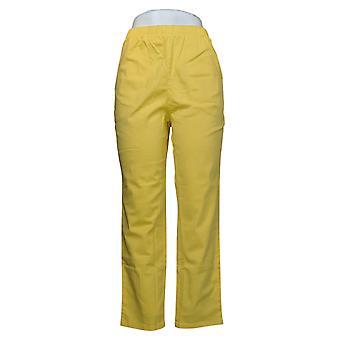 Denim &co. kvinners petite bukser original midje sidelomme gul A375349