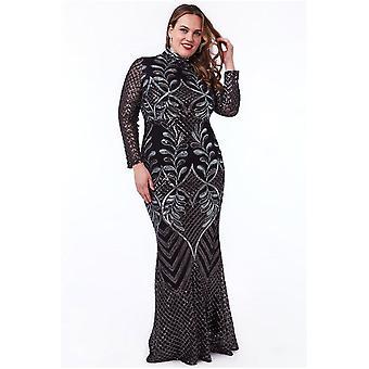 Goddiva Plus Flitry Mesh Maxi Šaty s vysokým límcem - černé