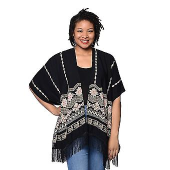 Black Open Front Embroidered Kimono with Tassels Size 70x95+10cm