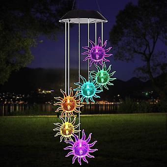 Led Solar Wind Chimes, Colorful Bubble Column Solar Wind Chime Lamp, Memorial Wind Bell For Garden Decor