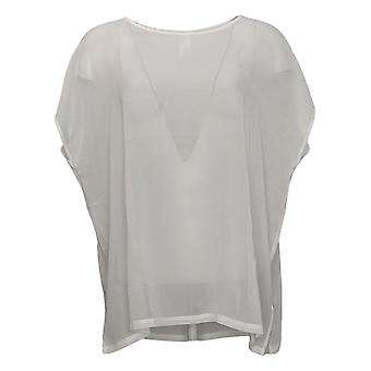 WynneLayers Women's Top Cap-Sleeve Chiffon Ivory 758947