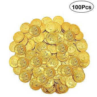 Jinzhaolai 100 Pirate Plastique Pièce d'Or Accessoires Jouets (or)