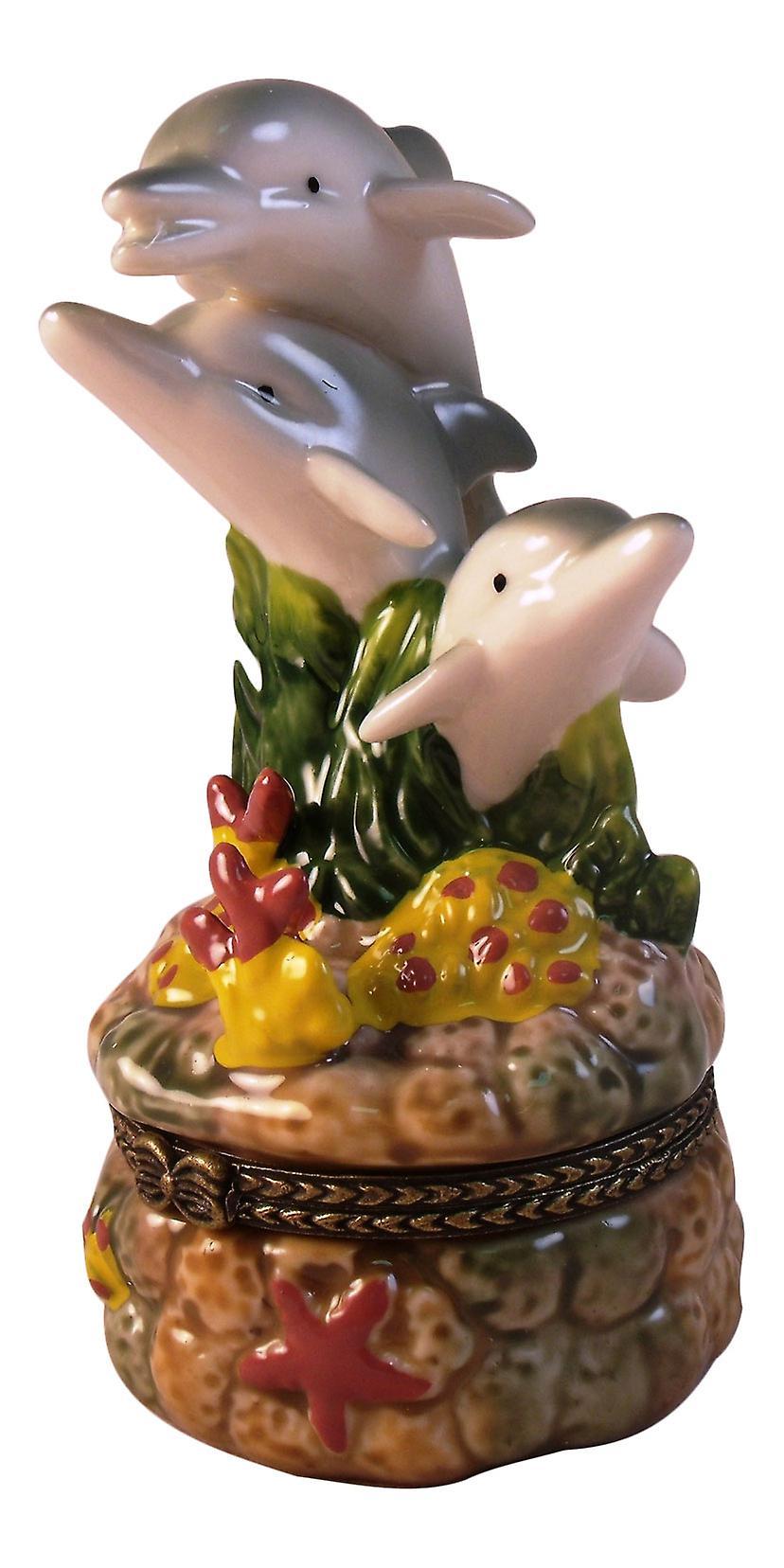 Marine Dolphins Trio Porpoise Mammal Trinket Box