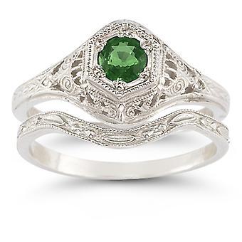 Antique-Style Emerald Wedding Ring Set