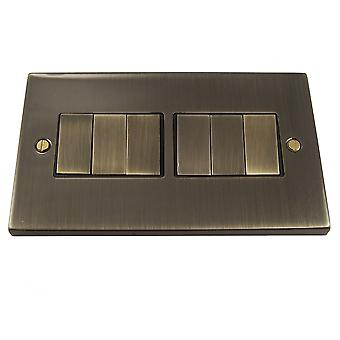 Causeway 6 Gang Ingot Light Switch, Antique Brass
