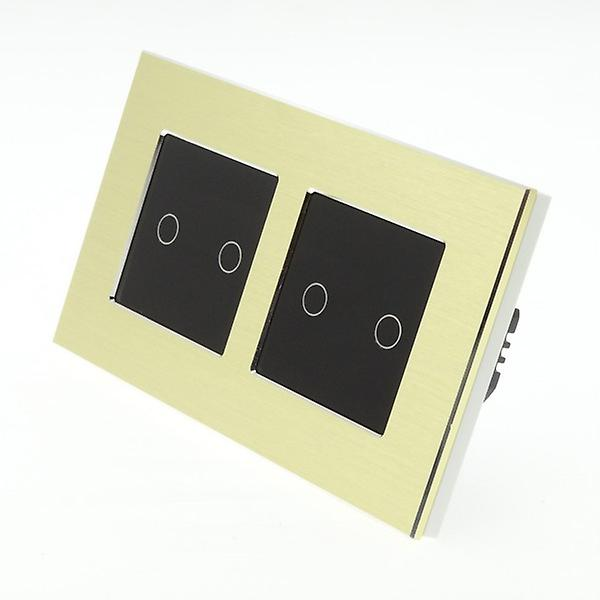 I LumoS Gold Brushed Aluminium Double Frame 4 Gang 1 Way Touch LED Light Switch Black Insert