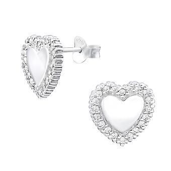Heart - 925 Sterling Silver Cubic Zirconia Ear Studs - W32065X
