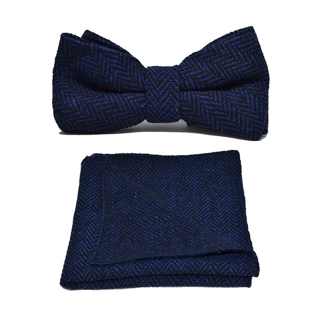 Midnight Blue & Black Herringbone Bow Tie & Pocket Square Set
