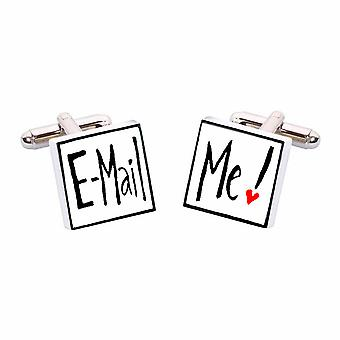 Email Me Cufflinks by Sonia Spencer, in Presentation Gift Box. Hand painted