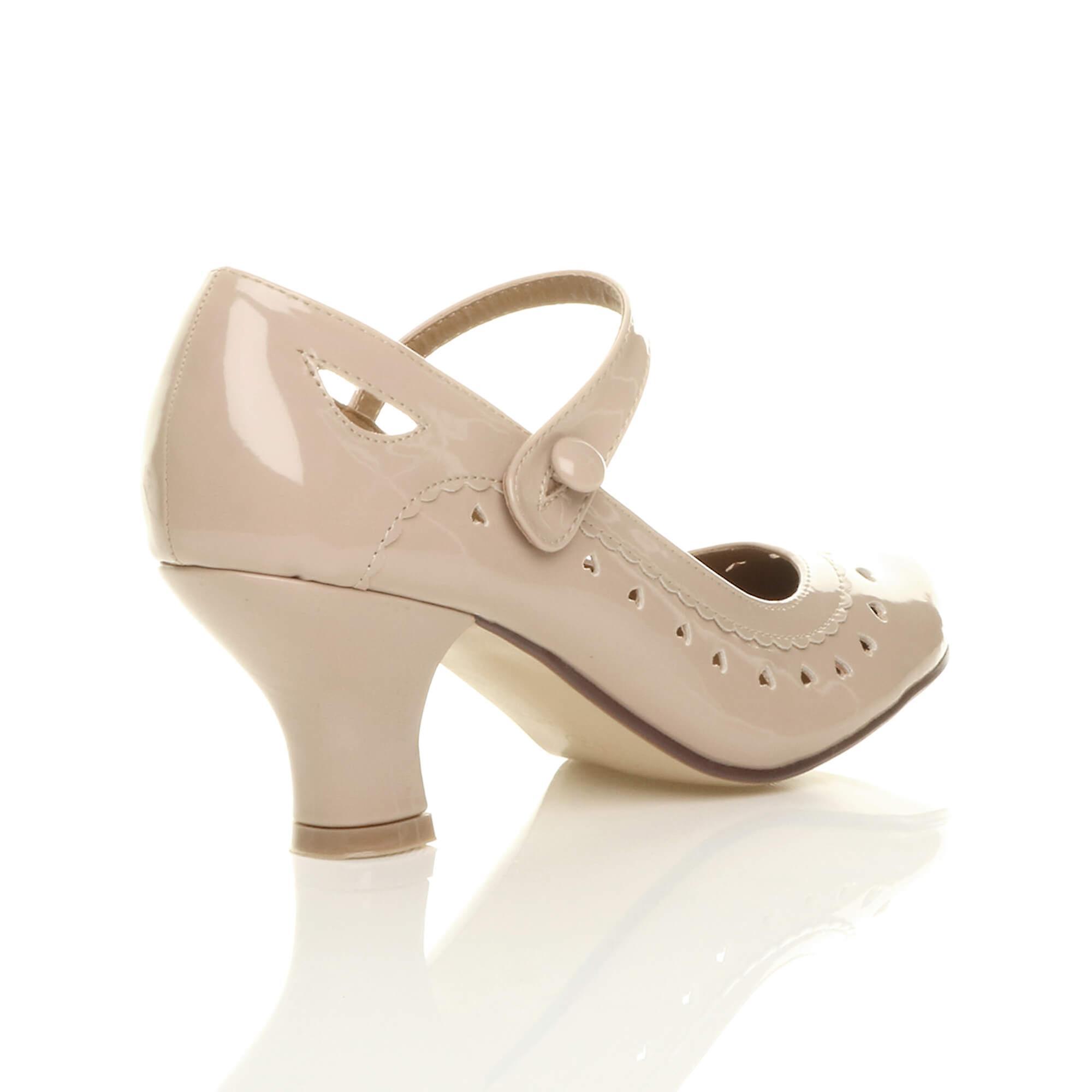 Ajvani damskie połowy kitten pięty mary jane pasek działa klasyczny wyciąć serce pompuje buty sądu BbqE1