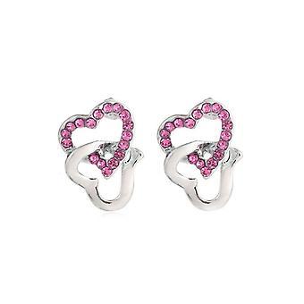 Dame sølv Stud Øreringe lyserøde sten lænket hjertet kærlighed Diamante