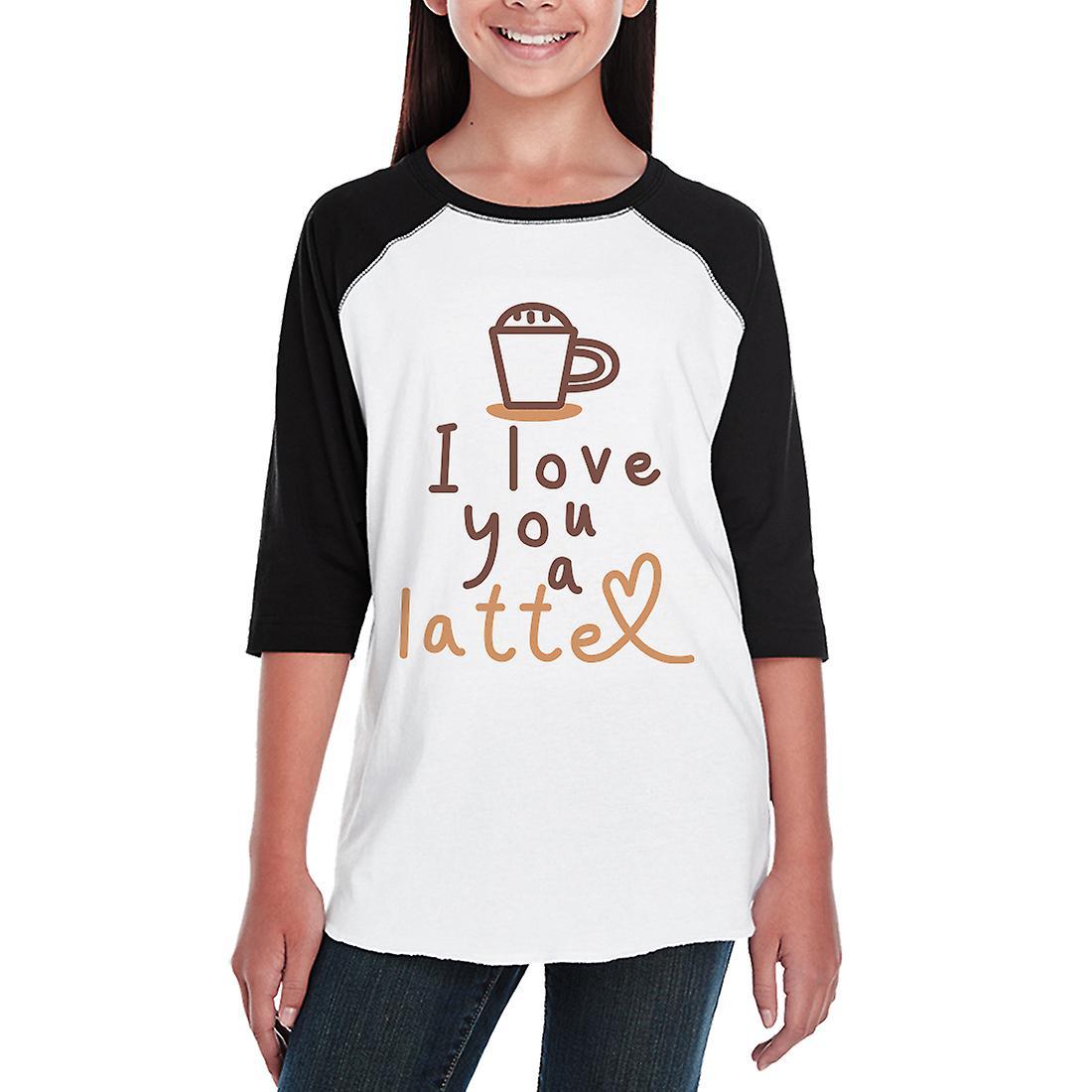 Love A Latte Kids Raglan Baseball Shirt