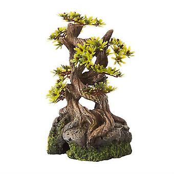 Classic Polyresin Bonsai On Rocks 19cm Fish Tank Aquarium  Decor
