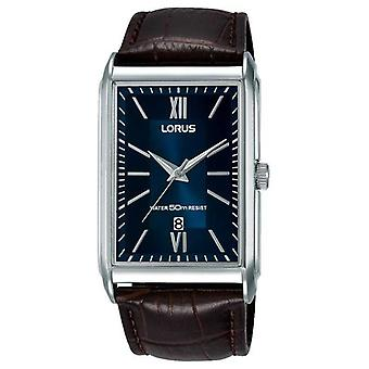 Lorus Mens Rectangular Brown Leather Strap Blue Dial RH911JX9 Watch