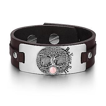 Arbre de vie vivre l'amour être votre Bracelet amulette celte libre chats simulé rose oeil cuir marron