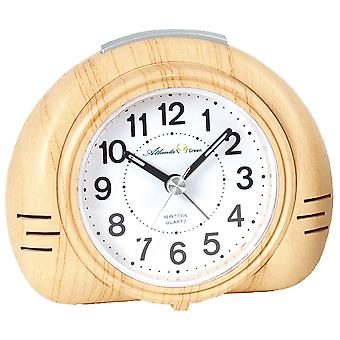 Atlanta green 2502/30 alarm clock quartz analog quietly without ticking in wood look