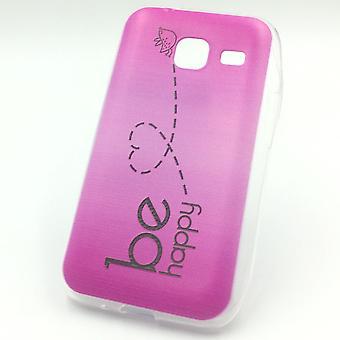 Cell phone case voor Samsung Galaxy J1 mini worden gelukkig roze Pouch geval + 1 x tank bescherming glas