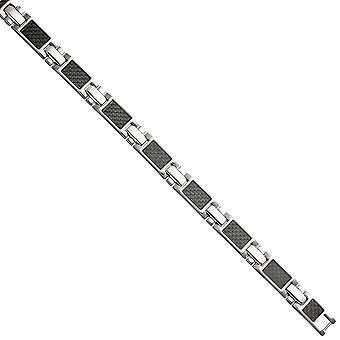 Bracciale in acciaio inox con carbonio combinato 20,5 cm