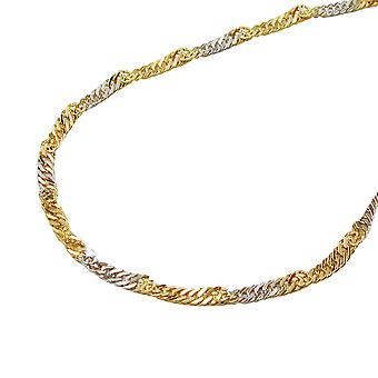 1, 8mm Singapore of bicolor 14Kt GOLD bracelet 19cm