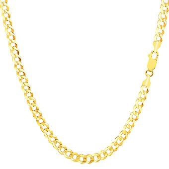 14k Yellow Gold Comfort Curb Chain Necklace, 3.6mm