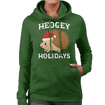 Hedgey Holiday Christmas Hedgehog Women's Hooded Sweatshirt