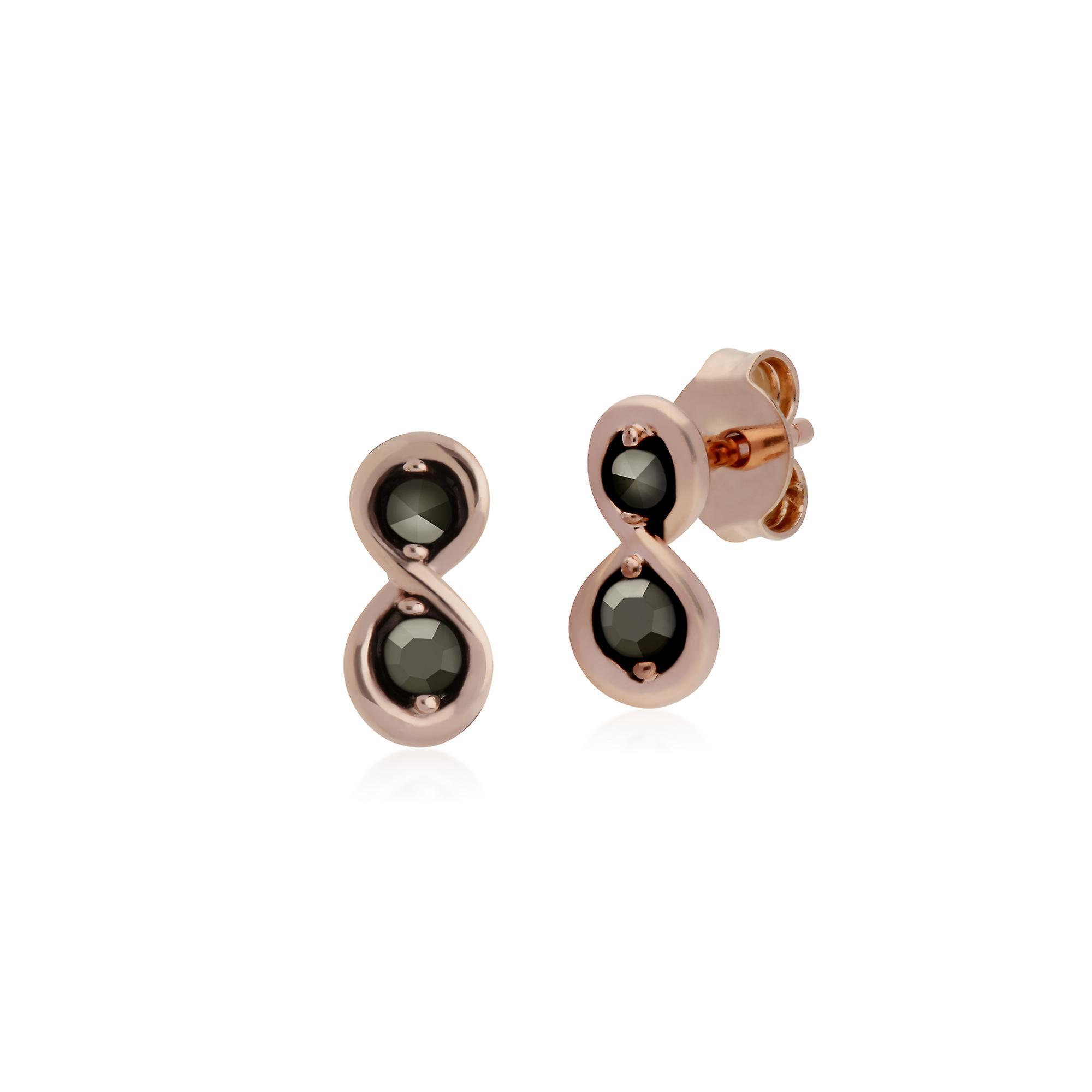 Gemondo Rose Gold Plated Sterling Silver Infinity Marcasite Stud Earrings