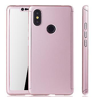 Xiaomi Mi 8 SE Handy Hülle Schutz-Case Full-Cover Panzer Schutz Glas Rose