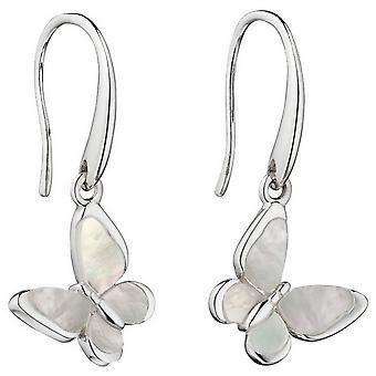 Delar Silver fjäril reglaget mor pärla örhängen - Silver