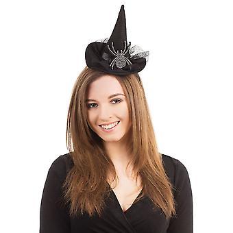 Witch Hat on Headband/Diamante Spider