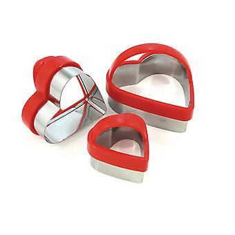 Eddingtons zestaw 3 serca kształt foremki z czerwonym Tops & uchwyty