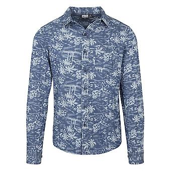 Urban classics men's long-sleeve shirt printed Palm denim