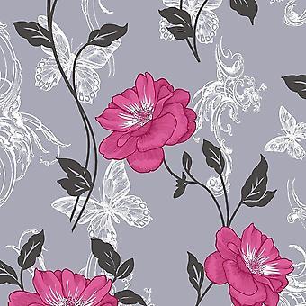 Flower Wallpaper Floral Paisley Modern Millie Luxury Modern