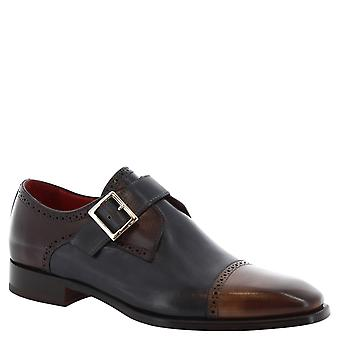 Man's handmade monk shoes in multicolor calf leather