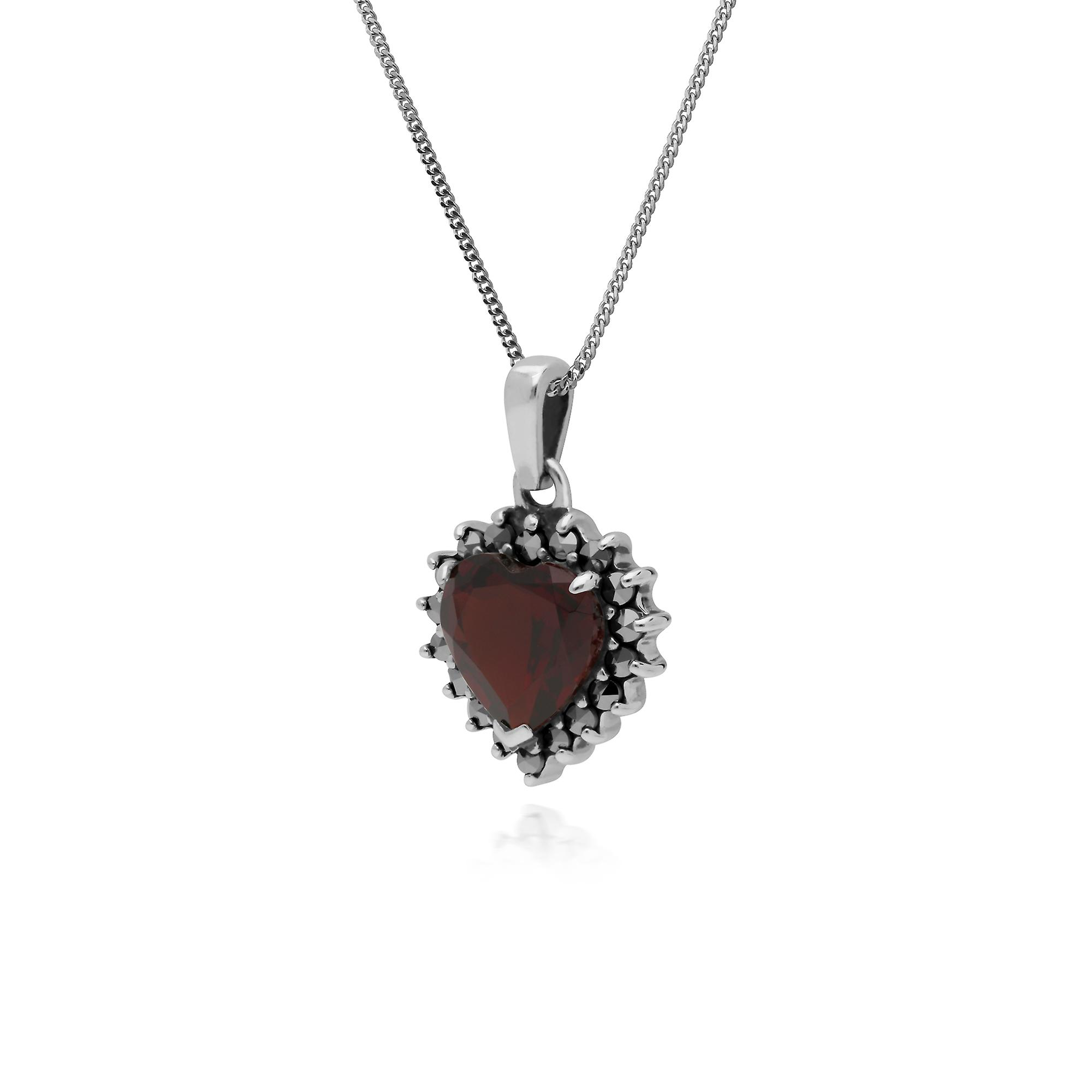 Gemondo Sterling Silver Garnet & Marcasite Heart Pendant with 45cm Chain