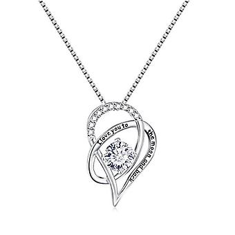 925 Sterling Silver I Love You To The Moon And Back Pendant Necklace