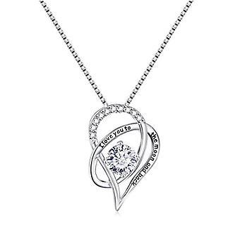 925 sterling sølv jeg elsker dig til månen og ryg vedhæng halskæde