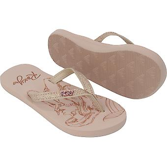 Roxy Girl x Disney Little Mermaid Napili Flip Flops Sandals - Beige