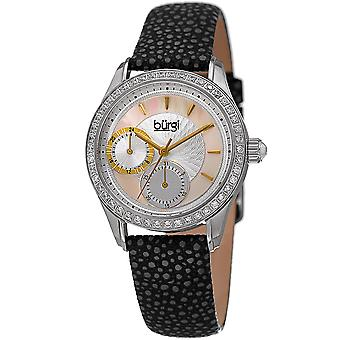 Burgi Women's BUR160BK Multi-Function Mother-of-Pearl Dial with Textured Leather Strap Watch