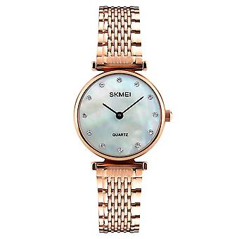 Skmei Women's Watch Rose Gold Mother Of Pearl Mesh Strap Crystal Stones SK1223