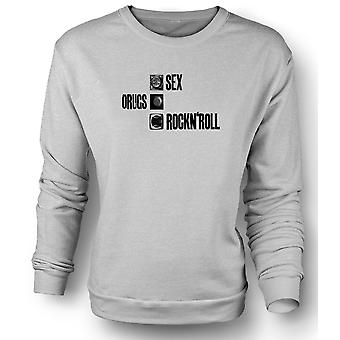 Mens Sweatshirt Sex Drugs Rock n Roll - Condom