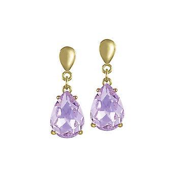 Ewige Sammlung Verführung Teardrop lila violett Kristall Gold Ton Drop-Clip auf Ohrringe