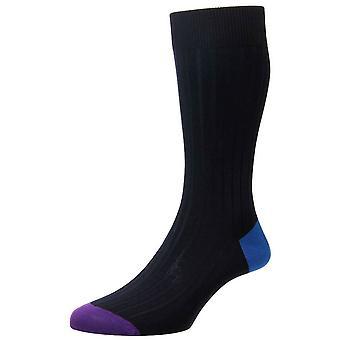 Pantherella Portobello Contrast Heel and Toe Socks - Navy/Sapphire/Crocus Purple