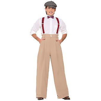 Roaring 20s Gangster Deluxe Wide Leg Trousers Teen Men Costume Pantalon Pants