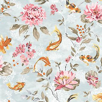 Koi Carp Water Lilies Floral Wallpaper White Pink Beige Lime Fish Paste Wall