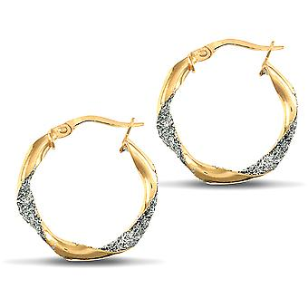 Jewelco London Ladies 9ct Yellow and White Gold Crushed Ice Glitter Twist 3mm Hoop Earrings 21mm