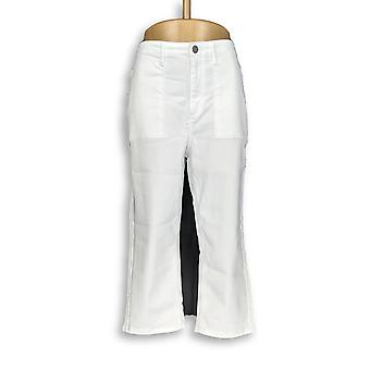 Susan Graver Women's Jeans Stretch Twill Capris Bianco A304080